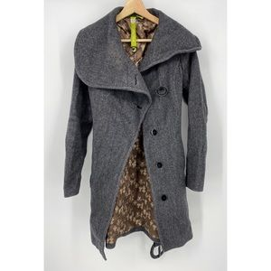 Soia & Kyo Houndstooth Wool Collar Belted Coat